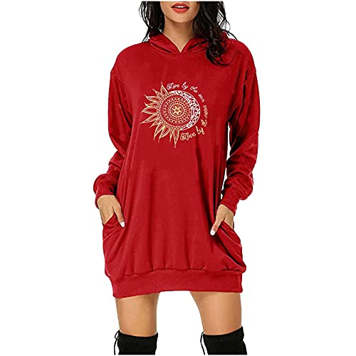 HEJANG Women Hoodie Sweater Pullover Casual Dress Fashion Streetwear Long Sweatshirt for Autumn and Winter (Red, XL)