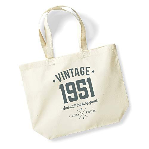 70th Birthday Gift Bag Keepsake for Women Funny Novelty Ladies Female Shopping Present Tote Bag Idea (Natural)