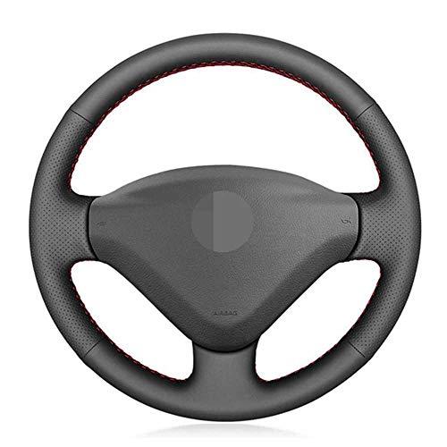 LYSHUI Cubierta de Cuero para Volante de Coche, Apto para Peugeot 207 2006-2014 Partner 2009-2018 Expert 2008-2016 Fiat Scudo 2010-2016