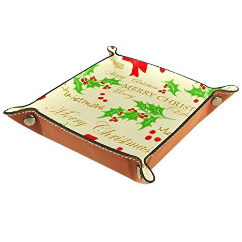 YATELI Caja de Almacenamiento pequeña, Bandeja de Valet para Hombre,Árbol de Navidad Berry Santa...