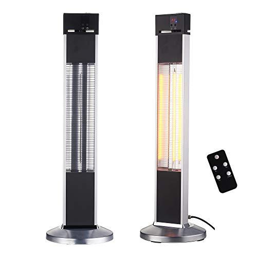 Arebos Infrarot Stand Heizstrahler 2000 W   mit Fernbedienung   IP34 Schutzart   Low-Glare-Technologie   3 Heizstufen