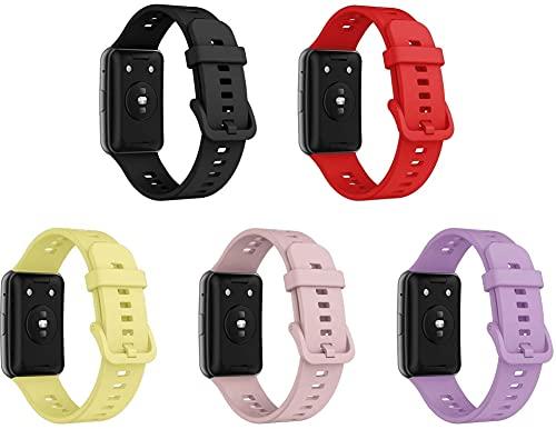 Cinturino per Orologio compatibile con Huawei Watch Fit/Huawei Fit, Ricambio di Cinturino di Silicone per Uomo e Donna, Caucciù Sgancio Rapido per Orologi (5-Pack H)