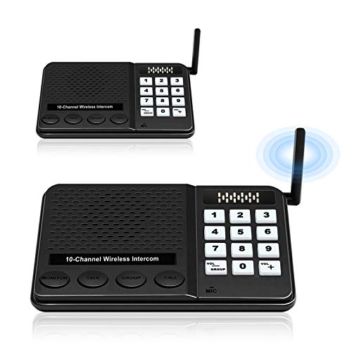 Intercom System for Home Business – GLCON Intercoms Wireless with 10 Channels 3 Code – Long Range Room to Room Wireless Intercom for House Elderly (2 Pack)