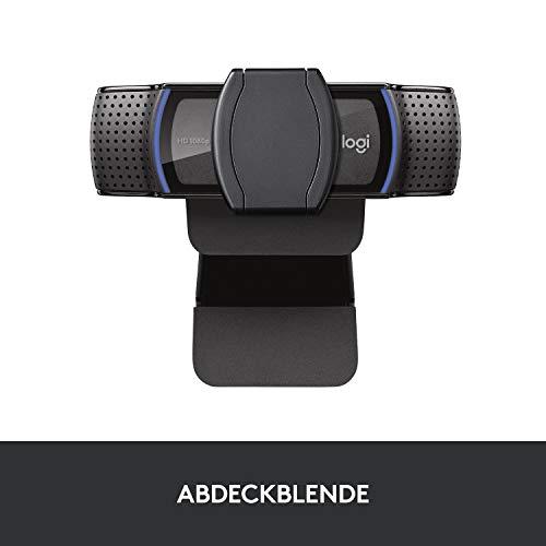 Logitech C920s HD PRO Webcam, Full-HD 1080p, 78° Blickfeld, Autofokus, Belichtungskorrektur, USB-Anschluss, Abdeckblende, Für Skype, FaceTime, Hangouts, etc., PC/Mac/ChromeOS/Android/Xbox One, Schwarz