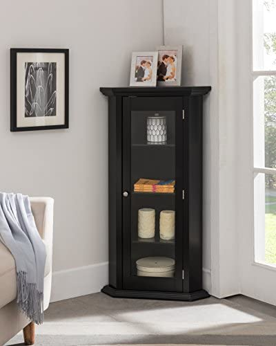 Kings Brand Furniture Corner Curio Storage Cabinet with Glass Door Black Finish product image
