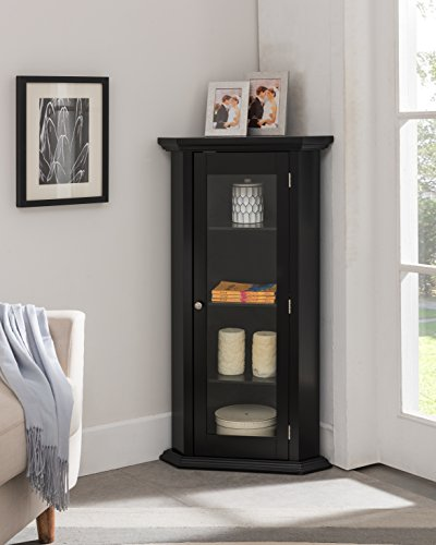 Kings Brand Furniture - Corner Curio Storage Cabinet with Glass Door, Black Finish