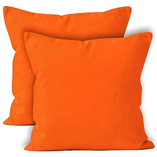 Encasa Homes Fundas de Cojines 2 Piezas (60 x 60 cm) - Naranja - Lona de algodón teñida Forma sólida, Decorativa, Grande y Colorida, Lavable Funda Almohada para Sala de Estar, Dormitorio