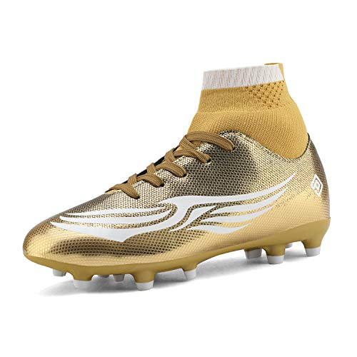 DREAM PAIRS Jungen Mädchen Fußball Fußballschuh Schuhe (Kleinkind/Little Kid/Big Kid) Gold Weiß Größe 12 US Little Kid / 30 EU HZ19009K