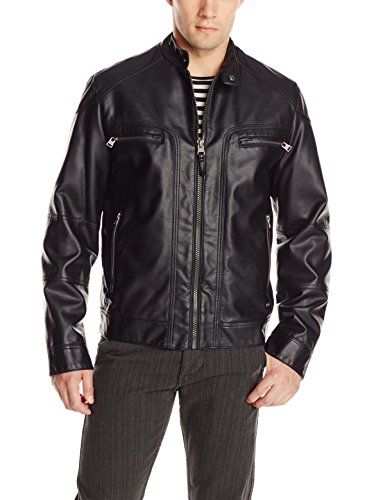 Calvin Klein Men's Faux Lamb Leather Moto Jacket with Hoodie, Black, Medium