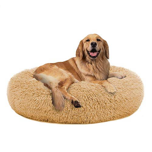 PUPPBUDD Calming Dog Bed Cat Bed Donut, Faux Fur Pet Bed Self-Warming...