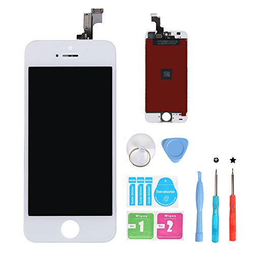 HSX_Z iPhone 5S LCD Screen Replacement White, Digitizer Display Retina Touch Screen Glass Frame Assembly for iPhone 5S - White