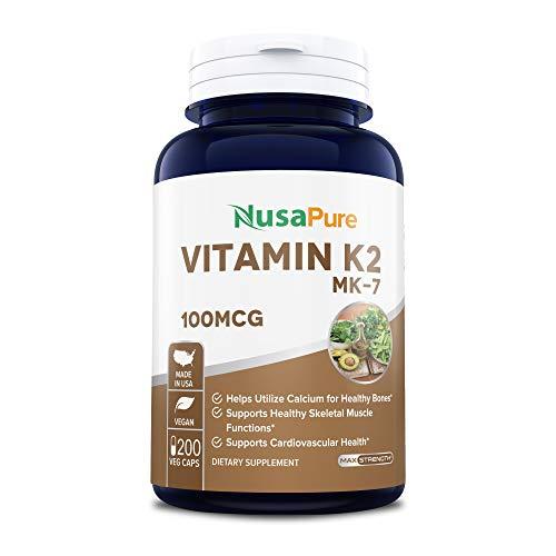 Vitamin K2 MK7 100mcg 200 Veggie Caps (Non-GMO, Vegetarian & Gluten Free) - Helps Utilize Calcium for Bones - Supports Healthy Skeletal Muscle Functions