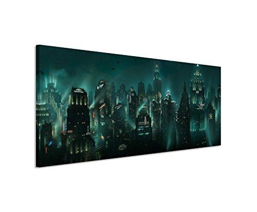 Paul Sinus Art Kunstdruck Bioshock_Rapture_150x50cm Panoramabild_Ausführung qualitativ hochwertiges Keilrahmenbild auf echter Leinwand als Wandbild auf Keilrahmen