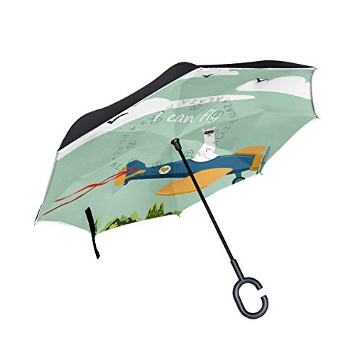 SKYDA Umkehr-Regenschirm, niedliches Lama-Flugzeug, umgekehrt, doppelschichtig, Winddicht, Regenschirm für Auto und Regen im Freien, mit C-förmigem Griff