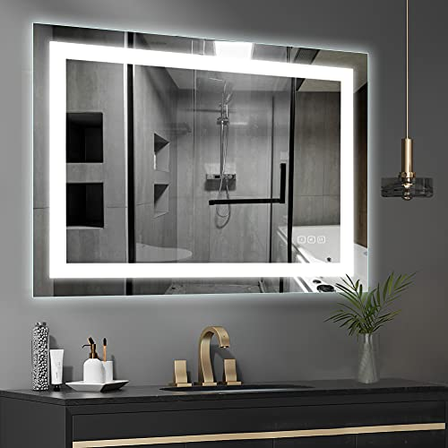 32 x 40 inch LED Bathroom Vanity Mirror, Wall Mounted + Defogger & Dimmable Touch Switch + Polished Eadge &Frameless + 5500K Cool White +3000K Warm + CRI>90 + Vertical&Horizontal