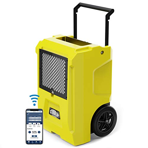 AlorAir Storm DP Smart WiFi Commercial Dehumidifier, 50 AHAM/110 Saturation PPD Dehumidifier with Pump, Water Damage Equipment for Crawl Spaces, Basements, Garages, and Job Sites, Yellow Pints