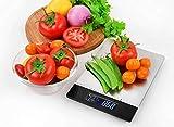 Venga! Báscula de Cocina , hasta 5 kg, Bandeja de Acero Inoxidable, Con Sensor de Temperatura y Reloj, Negro/Inox, VG EKS 3000