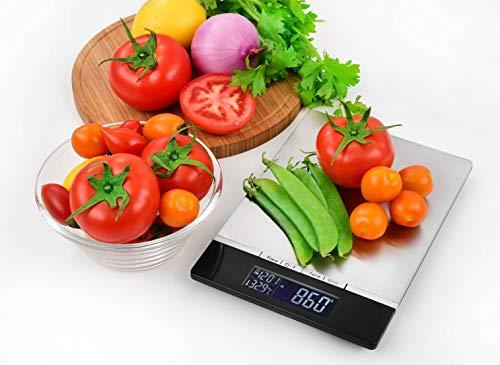 Venga! Báscula de Cocina, hasta 5 kg, Bandeja de Acero Inoxidable, Con Sensor de Temperatura y Reloj, Negro/Inox, VG EKS 3000