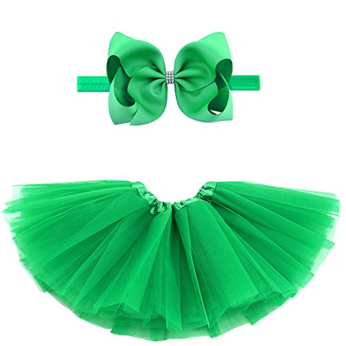 BGFKS 5 Layered Toddlers Tulle Tutu Skirt for Girls with Headband for Baby Girl 0 to 36 Months (Green, M,6-24 Months)