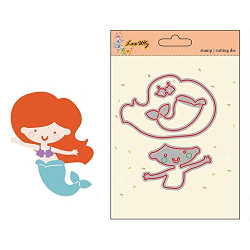 Hothap Mooie leuke patronen zeemeermin meisje metaal stansvormen sjabloon papier kaartjes reliëf scrapbooking handwerk met grote waarde