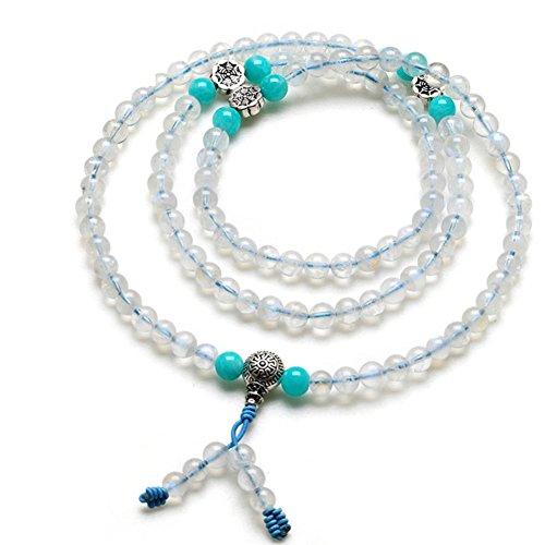 Kind of blue moon stone de glace naturelle108 Bracelet de perles de prière bouddhiste/ Pierre de l'amour-A