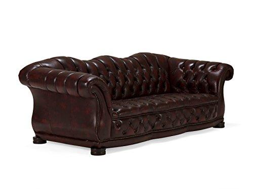 massivum Sofa Glasgow 3-Sitzer 222x79x98 cm Echt-Leder rot Couch im englischen Stil mit Federkern-Polsterung