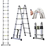 12.5ft 3.8M Extension <span class='highlight'>Ladder</span> Aluminium Multi-Purpose <span class='highlight'>Telescopic</span> <span class='highlight'>Ladder</span>s Portable Solid Folding A-Fram Step <span class='highlight'>Ladder</span>s for Outdoor & Indoor (1.9m 1.9m))