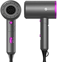 Hair Dryer, slopehill (Safety Upgraded) 1800W Professional Ionic Hairdryer for Hair Care, Powerful Hot/Cool Wind Blow Dryer, 3 Magnetic Attachments, ETL, UL and ALCI Safety Plug (Dark Grey)