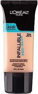 L'Oreal Paris Makeup Infallible Up to 24HR Pro-Glow Foundation, 204 Natural Buff, 1 fl; oz.