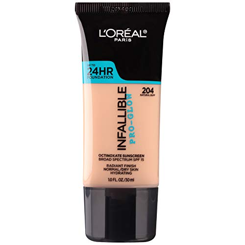 L'Oreal Paris Makeup Infallible Up to 24HR Pro-Glow Foundation, 204 Natural Buff, 1 fl; oz.
