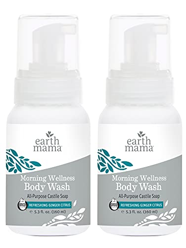 Earth Mama Morning Wellness Foaming Hand Soap | All-Purpose Castile Body Wash, 5.3-Fluid Ounce (2-Pack)