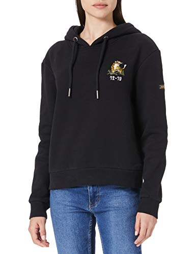 Superdry Womens Military Logo Crop Hood Sweatshirt, Black, S