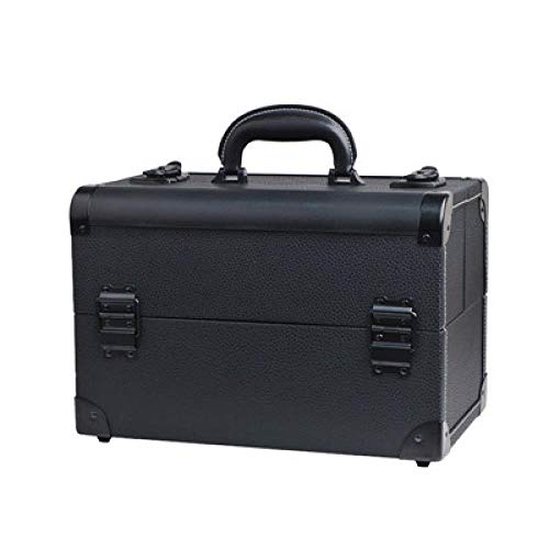 JIANYUXIN Trousse De Toilette Portable Cosmetic Box Multi-Layer Double Open Cosmetic Box Large Capacity Acceptance Kit Black
