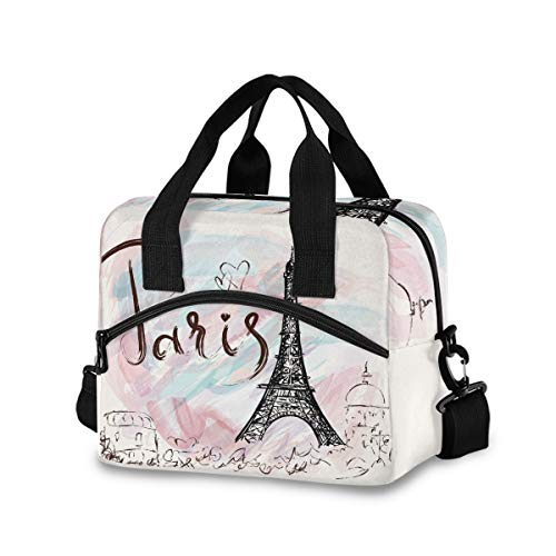 Hand Drawn Paris Eiffel Tower Lunch Bags for Women Lunch Tote Bag Lunch Box Water-resistant Thermal Cooler Bag Lunch Organizer for Working Picnic Beach Sporting