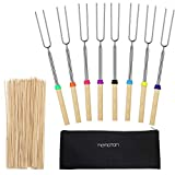 Hemoton Marshmallow Roasting Sticks Stainless Steel Roasting Sticks with Wooden Handle Extendable BBQ Forks...