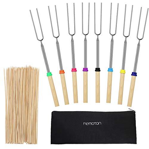 Hemoton - Bastoncini da tostatura in acciaio inox con manico in legno, forchette per barbecue estensibili con 100 spiedini di bambù per braciere da campo, set di 8