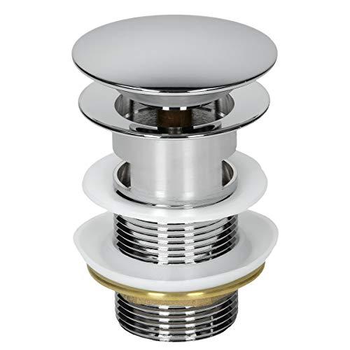 ECD Germany Universal Ablaufgarnitur für Waschbecken & Waschtisch Ablaufventil mit Überlauf Messing verchromt Modernes Pop-Up Click Clack Ventil Abflussgarnitur Werkzeugloser Einbau Waschbeckenstöpsel