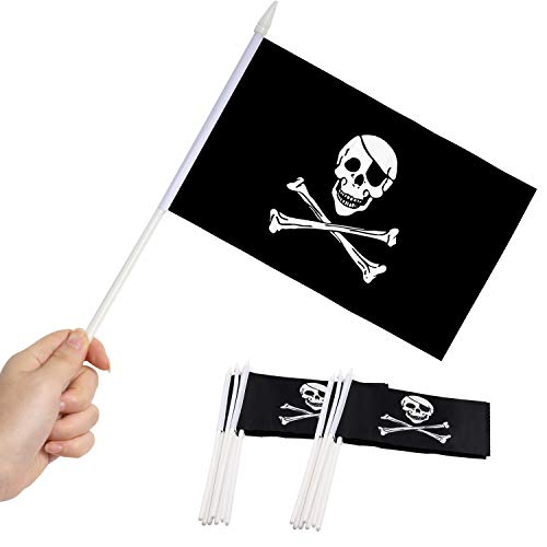 Anley Pirate Mini Flag 12 Pack - Hand Held Small Miniature Jolly Roger Flags on Stick - Fade Resistant & Vivid Colors - 5x8 Inch with Solid Pole & Spear Top