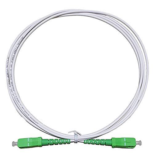 LAZY SPORTS Fiber óptica Cable SC APC a SC APC monomodo simplex 9 125,Operadores Movistar Jazztel Vodafone Orange Amena Masmovil Yoigo (Blanco 5M)