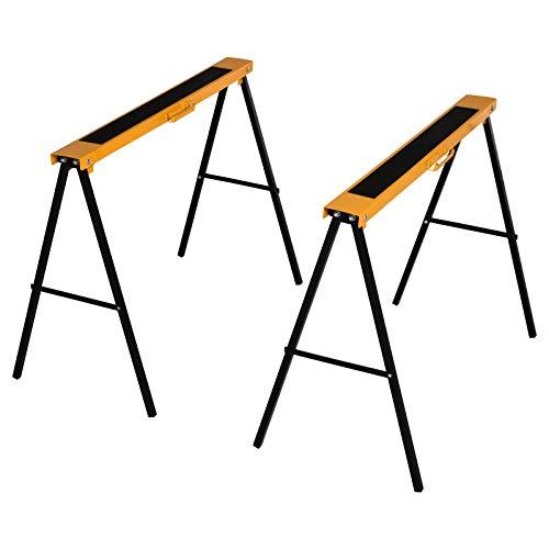 HOMCOM Arbeits Bock, Sägepferd, Unterstellbock, Klappbar, Rutschfest, Stahl, Orange, Schwarz, 99,5 x 50 x 78 cm, Belastbarkeit 125 kg