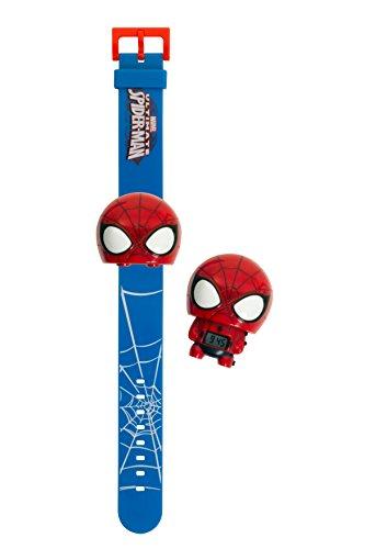 BulbBotz Marvel 2021142 Spiderman Kinder-Armbanduhr mit Hintergrundbeleuchtung , rot/blau , Kunststoff , digitale , LCD-Display , Junge/ Mädchen , offiziell