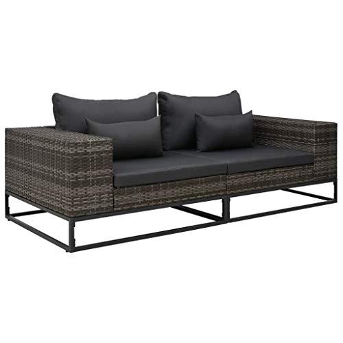 pedkit Sofa Exterior Jardin Set de sofás de jardín con Cojines 2 pzas ratán sintético Gris
