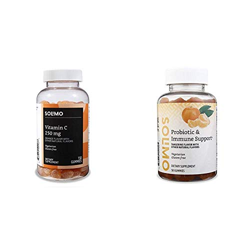 Amazon Brand - Solimo Vitamin C 250mg, 150 Gummies (2 Gummies per Serving) & Solimo Probiotic & Immune Support, 2 Billion CFU with 25 mg Echinacea per Serving (2 Gummies), 50 Gummies