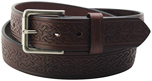 Men's Brown Leather Celtic Belt –Embossed Design -Premium Belts, 32 Inches