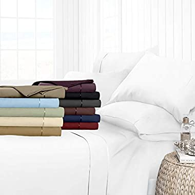 Egyptian Luxury Hotel Collection 4-Piece Bed Sheet Set - Deep Pockets, Wrinkle and Fade Resistant, Hypoallergenic Sheet and Pillow Case Set  - Queen, White