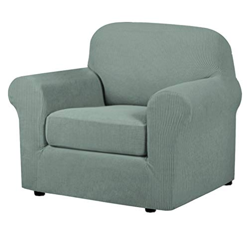 2-Piece Armchair Cover Chair Slipcovers with Arms Sofa Slipcover for Chair Fit Chair Width Up to 48 Inch, Anti-Slip Rich Stretch Knitted Jacquard Fabric Small Checks(Chair, Sage)