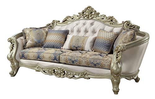ACME Furniture Gorsedd Sofa with 5 Pillows, Cream Fabric and Antique White