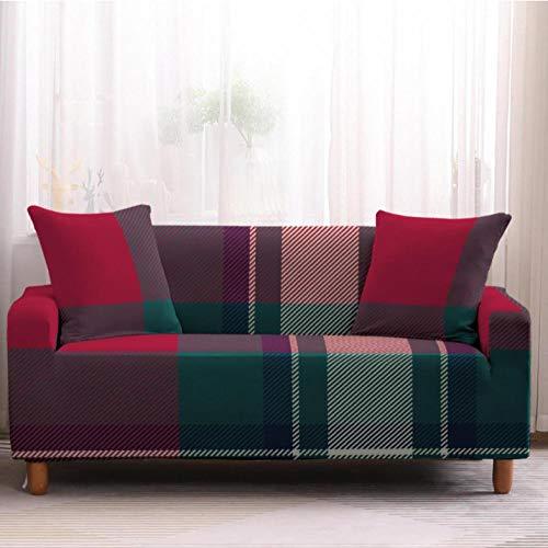 Funda Elástica de Sofá de 2 Plazas Tela Escocesa Verde roja Funda sofá (Regalar 2 Funda de Cojines) Funda para Sofá Funda de sofá de Sillón Antideslizante Protector Cubierta de Muebles