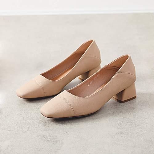 Damen High-Heels Mit Runden Zehen Und Damenschuhen Aus Weichem Leder Mit Mittlerem Absatz,Flesh,38