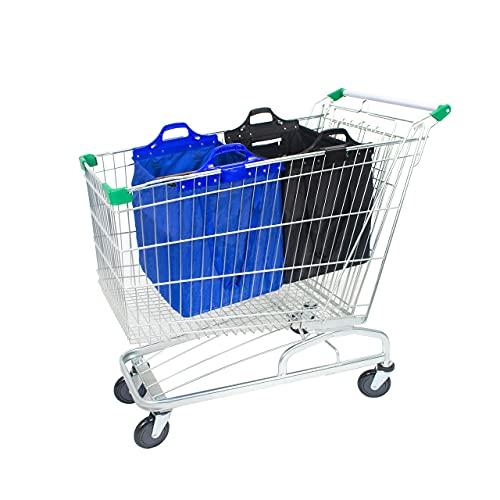 mimiliy Bolsa de Compras Reutilizable, Gran supermercado Shopping Trolley Bolsas, Plegable, Duradero y ecológico Rojo/Azul (Color : Blue/Black+Shoulder Belt)